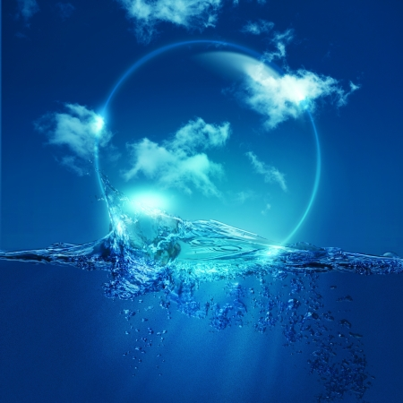 lightness: Water bubble over ocean wave, environmental backgrounds Stock Photo