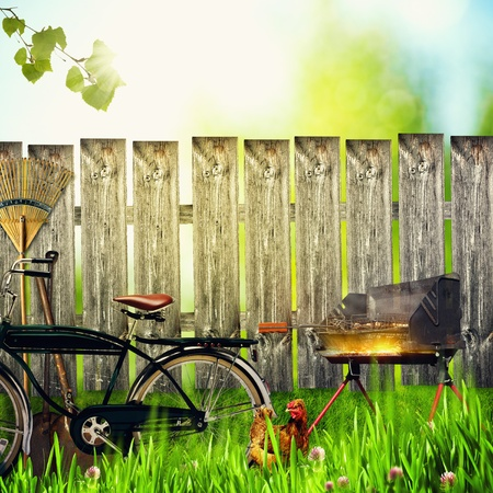 garden barbecue: On the farm, abstract environmental backgrounds