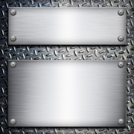 notice board: Brushed steel plate over black metall background for your design Stock Photo