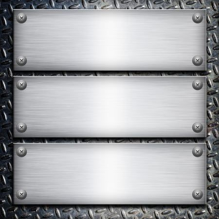 Brushed steel plate over black metall background for your design Stock Photo - 19931465