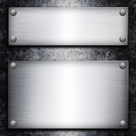 Brushed steel plate over galvanized metall background for your design photo