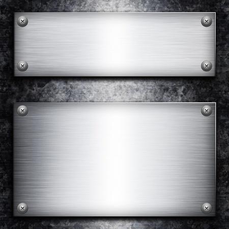 piastra acciaio: Piastra in acciaio spazzolato su sfondo metall zincato per il vostro disegno Archivio Fotografico