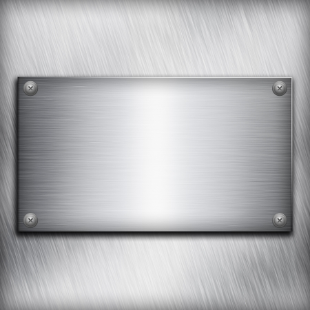 Brushed steel plate over aluminium metall background for your design photo