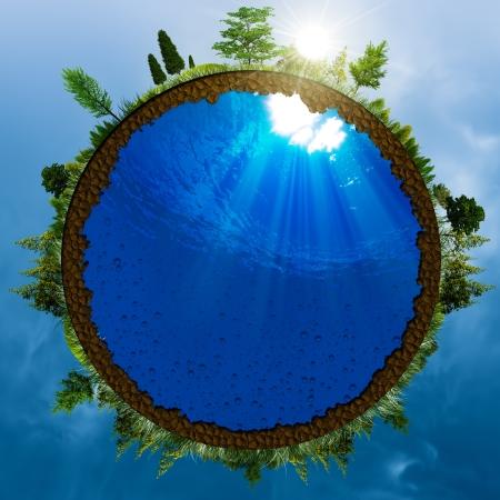 ahorrar agua: Mundo verde, el concepto de medio ambiente abstracto para su dise�o Foto de archivo