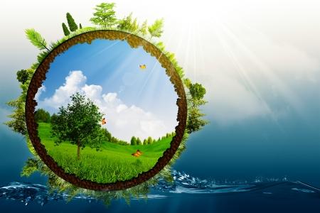 緑の世界、環境の抽象的な背景