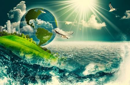 귀하의 디자인에 대 한 추상적 인 생태 환경 배경
