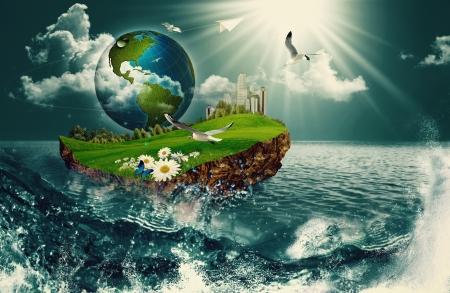 Nave de la Tierra, fondos ambientales abstractos