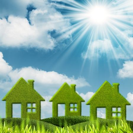 lawn care: Green House. Abstract environmental backgrounds