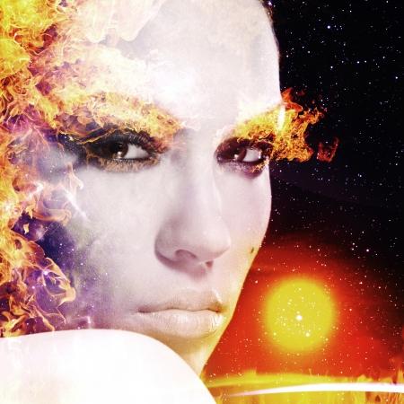 firestarter: Firestarter. Abstract female portrait