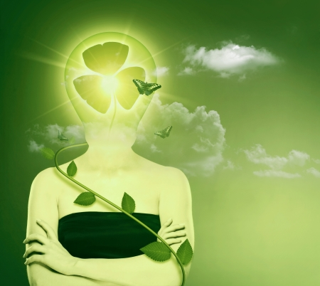 Green energy and eco protection concept. Female abstract portrait photo