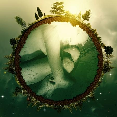 배아 지구. 귀하의 디자인에 대 한 추상적 인 환경 배경 스톡 콘텐츠
