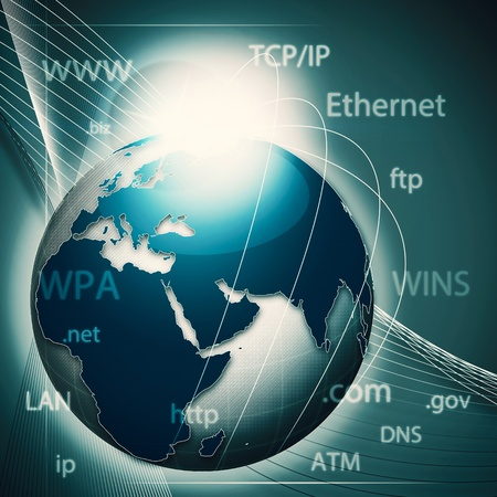 dns: Global information network, abstract techno backgrounds