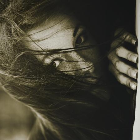 preasure: Sadness. Monochrome female portrait