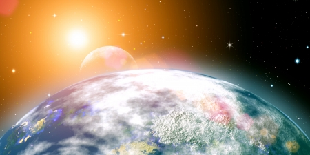 Rising sun over the planet Earth, abstract backgrounds. No NASA imagery used Stock Photo - 21370688