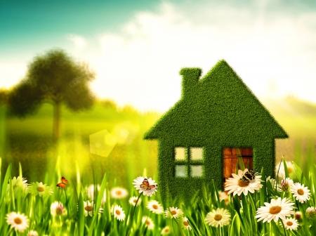 緑の家。環境の抽象的な背景