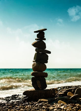 fulcrum: Pebble tower, abstract marine still life for your design