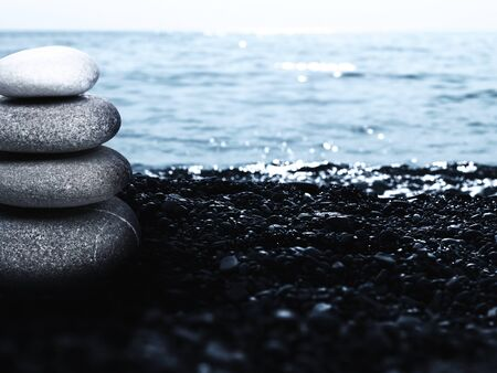 equalize: Pebble tower, abstract marine still life for your design