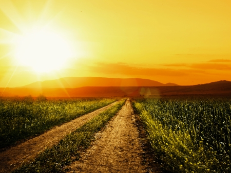over the hill: Road to sun. Abstract environmental backgrounds for your design
