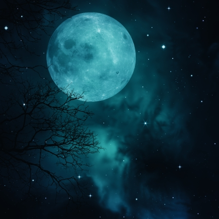 halloween background: Full Moon on the skies, abstract natural backgrounds Stock Photo