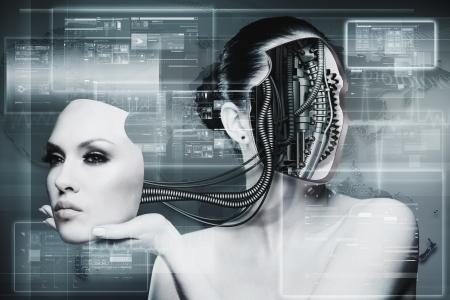Biomechanische Vrouw, abstracte futuristische achtergronden voor uw ontwerp