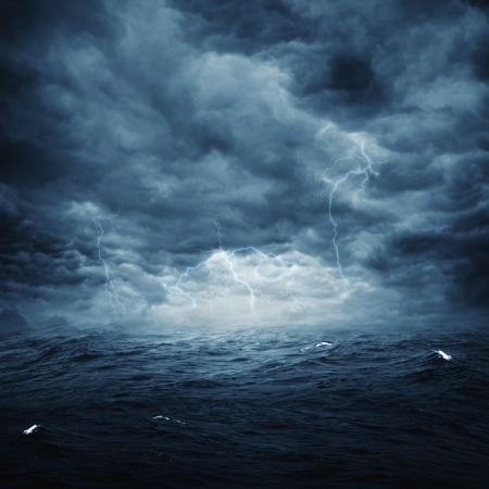 thunder: Stormy ocean, abstract natural backgrounds for your design Stock Photo