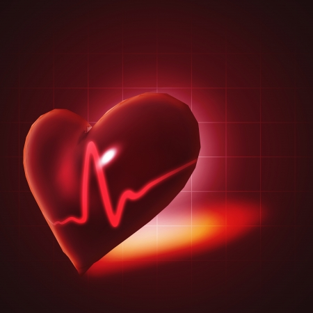 ECG abstract backgrounds with human 3D rendered heart Stock Photo - 23585557