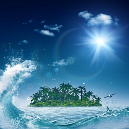 Alone island in ocean, abstract environmental backgrounds photo