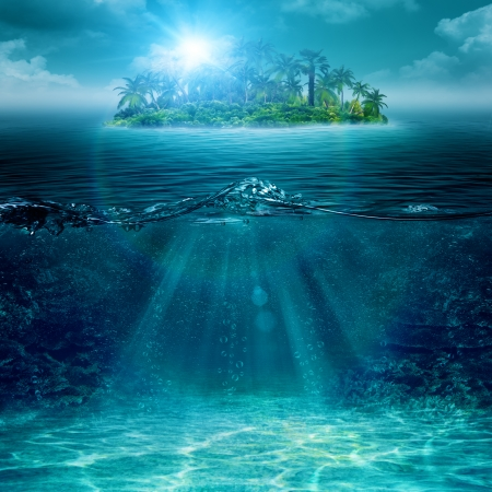 Alone island in ocean, abstract environmental backgrounds Stock Photo