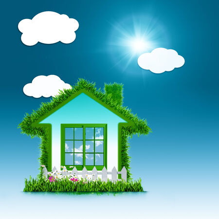Eco House concept design over blue backgrounds photo