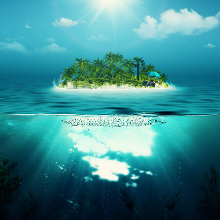 Alone island in the ocean, abstract environmental backgrounds photo