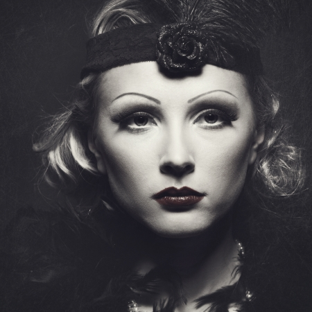 Classic retro female portrait with grungy texture for your design photo