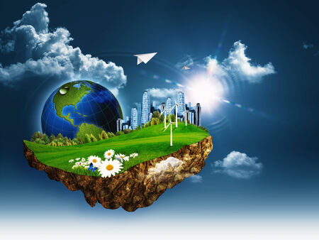 clean air: Flying island. Abstract eco and environmental concept Stock Photo