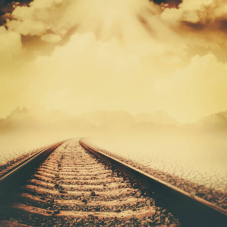 Railroad through the dead valley, abstract environmental backgrounds photo