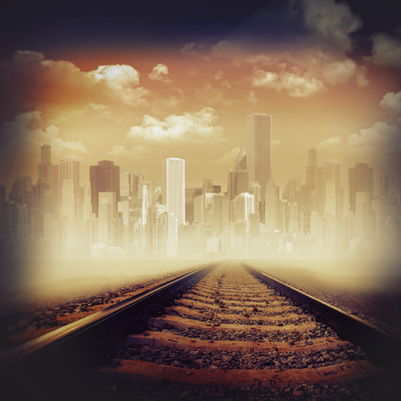 fantasy landscape: Road to the city. Abstract transportation backgrounds Stock Photo