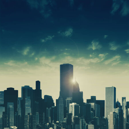 Day falls over the City, abstract urban backgrounds photo