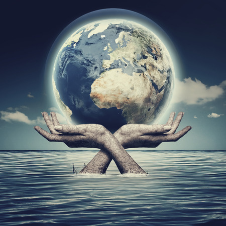 Whole world in her hands, abstract environmental backgrounds photo