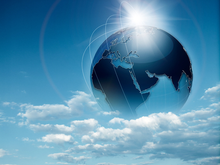 Earth in the skies, abstract travel and environmental backgrounds