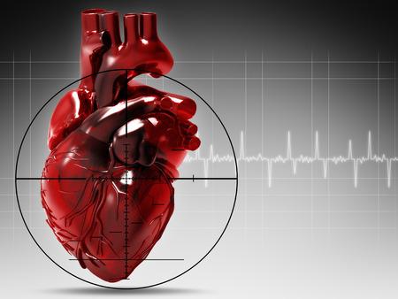 Menselijk hart onder vuur, abstracte medische achtergrond