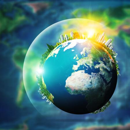 Global concept van duurzame ontwikkeling, milieu-achtergronden