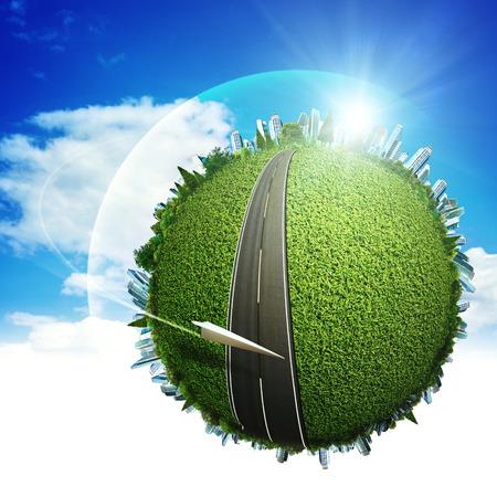 Global eco vervoer concept voor uw ontwerp Stockfoto
