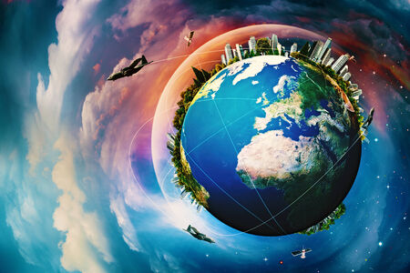 Earth planet. Vacation and travel backgrounds against blue skies photo