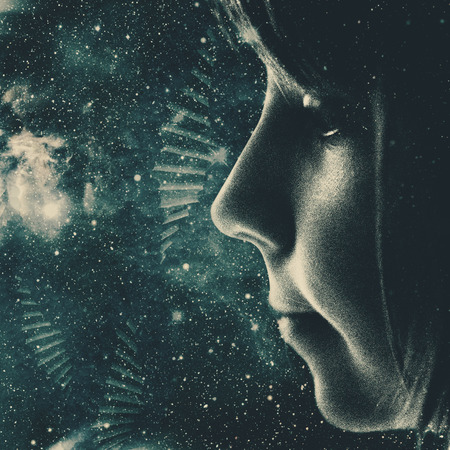 Children of the Universe, abstract sci-fi backgrounds for your design Foto de archivo