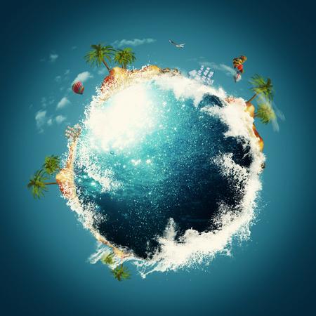 turismo ecologico: Blue Planet. Vacaciones y viajes fondos contra el cielo azul
