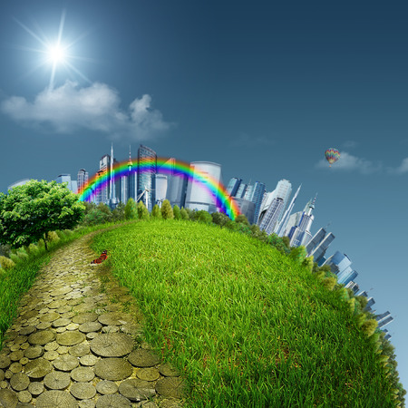 the natural world: Yellow road in a fabulous city, abstract eco backgrounds. Sustainable development concept Stock Photo
