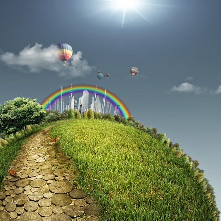 Yellow road in a fabulous city, abstract eco backgrounds. Sustainable development concept photo