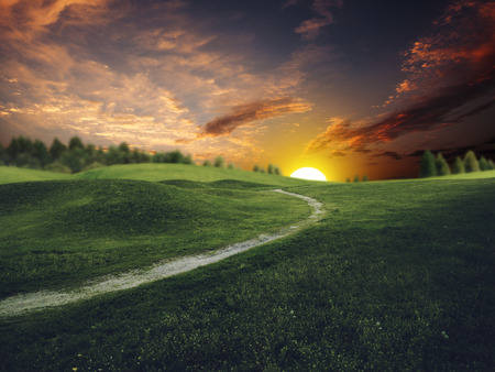 Mystical sunset over summer green hills, abstract environmental backgrounds photo