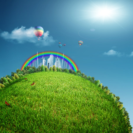 urban jungle: Fabulous city on the horizon, abstract eco backgrounds. Sustainable development concept Stock Photo