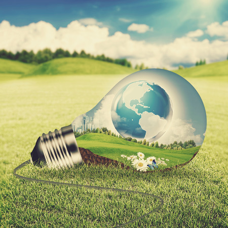 photosynthesis: Eco energy concept. Light bulb with green world inside over natural backgrounds with shallow DOF