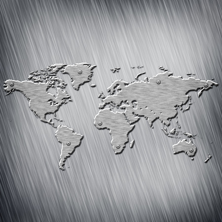 Earth map, made from steel over aluminum plate photo