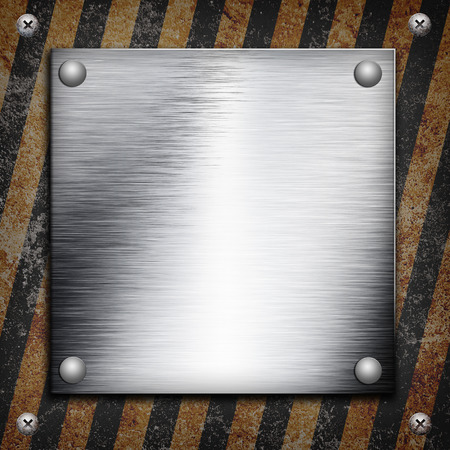 louver boards: Industrial grungy steel plate with black and yellow strip under aluminum shape
